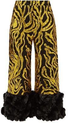 Halpern Vine-sequinned Applique-cuff Trousers - Womens - Gold Multi
