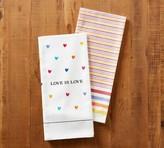 Pottery Barn Love Is Love Tea Towel, Set of 2 - Assorted