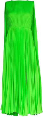 Valentino Green Pleated Cape Dress