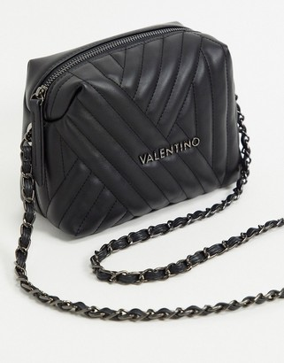 Valentino by Mario Valentino criss cross quilted cross body bag in black with chain strap