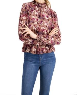 Self Esteem Juniors' Smocked Floral-Print Top