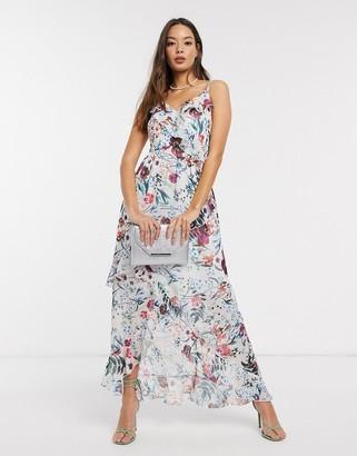 Little Mistress Ria frill maxi dress in floral