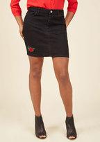 Motel Flirt and Sweet Denim Skirt in Black in XS