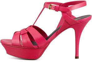 Saint Laurent Tribute Platform Sandal, Pink