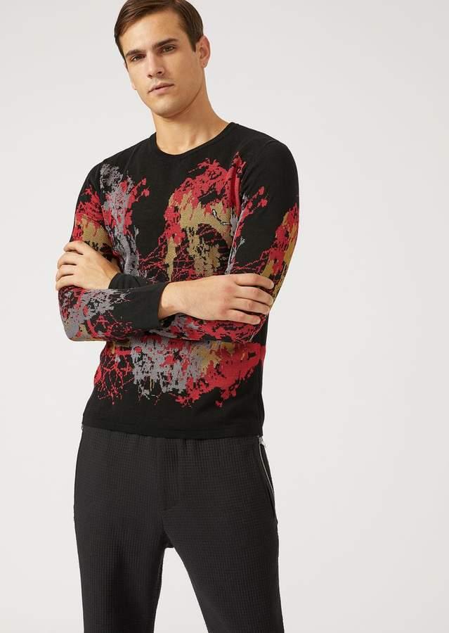 Emporio Armani Sweater In Light Jacquard Knit