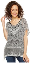 Dylan by True Grit - Tahla Top Rayon Print with Border Women's Short Sleeve Pullover