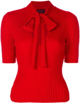 Giambattista Valli ribbed pussy bow top - women - Silk/Cashmere/Virgin Wool - 40