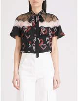 Sandro Floral heart-print silk-crepe top