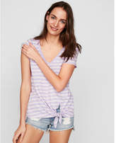 Express one eleven striped tie front slim tee