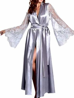 Xiaoqiao Women Sexy Lace Satin Long Robes Lingerie Gown Deep V Neck Wedding Nightdress Sleepwear (Gray XL)