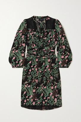 Giambattista Valli Pussy-bow Lace-trimmed Floral-print Silk Crepe De Chine Mini Dress - Black