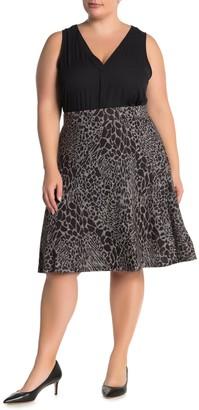 Leota Geometric Print Knee-Length Circle Skirt (Plus Size)