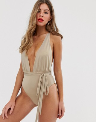 Miss Selfridge plunge swimsuit with tie waist in gold