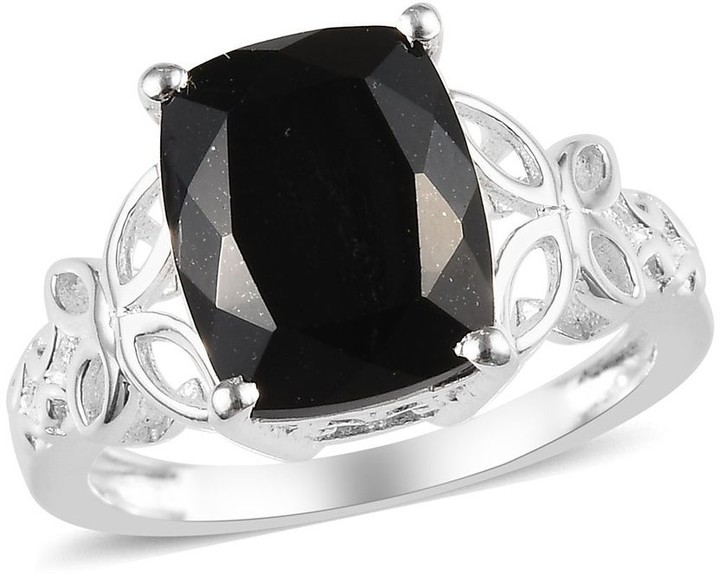 Sterling Silver Tourmaline Black Spinel Statement Ring Jewelry Size 10 Ct 3.2