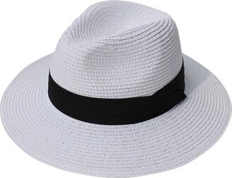 DRESHOW Women Wide Brim Straw Summer Panama Roll up Hat Fedora Beach Sun Hat UPF59+
