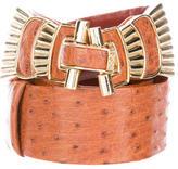 Judith Leiber Embellished Ostrich Belt
