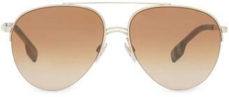 Burberry Top Bar Aviator-Style Sunglasses