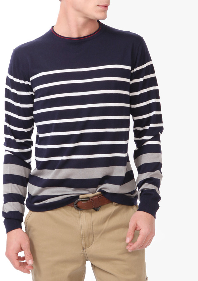 Forever 21 21 MEN Multi-Striped Sweater
