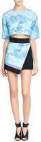 Fausto Puglisi Silk Mini Skirt with Tie-Dye Print