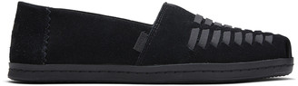Toms Black Leather Wrap Alpargata