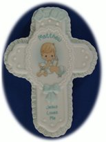 """Precious Moments Jesus Loves Me Personalized """"Matthew"""" Porcelain Wall Cross"""