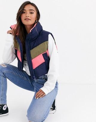 Asos Design DESIGN padded color block vest jacket-Multi