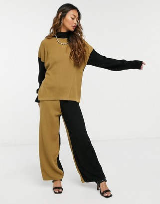 UNIQUE21 colour block knitted trousers in Black & Camel