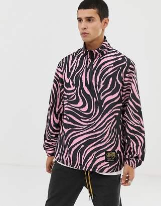 Tiger of Sweden overhead hooded tiger print jacket in pink