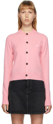 Acne Studios Pink Patch Crewneck Cardigan