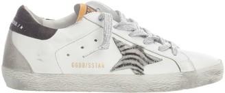 Golden Goose Superstar Leather Upper Zebra Horsy Star Glitter Heel