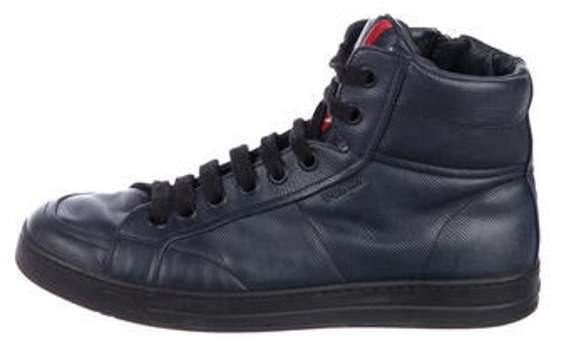 Sneakers Navy High Top Leather Sport 3q5ARL4cj