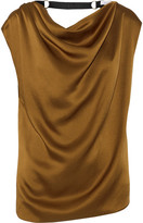Lanvin Embellished Draped Satin Top - Bronze