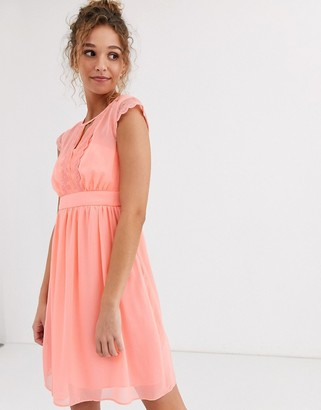 Naf Naf peachy soft mesh empire still dress with short sleeves-Pink