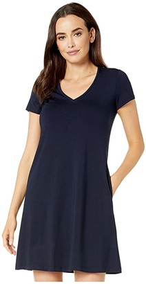Karen Kane Quinn V-Neck Pocket Dress (Navy) Women's Dress