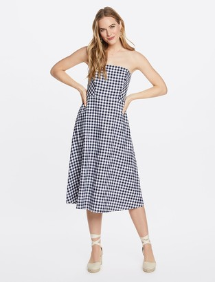 Draper James Gingham Strapless Midi Love Circle