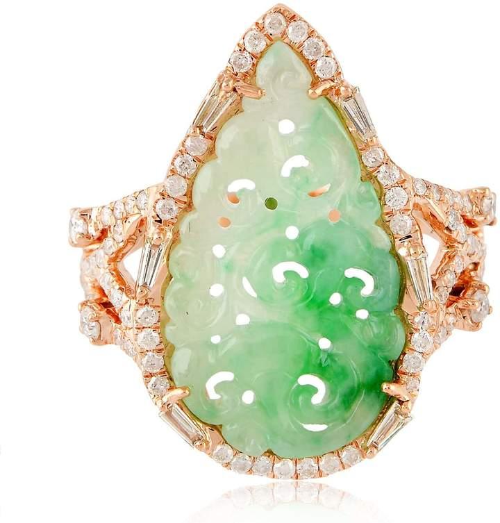 Artisan 18K Rose Gold Carved Jade Ring With Diamonds
