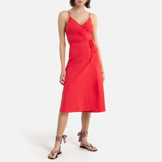 La Redoute Collections Wrapover Midi Dress with Shoestring Straps
