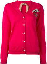 No.21 cherry brooch cardigan - women - Silk/Wool - 40