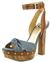 G by Guess Revail Women Open Toe Canvas Blue Platform Sandal.