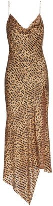 Alice + Olivia Harmony Leopard-Print Satin Asymmetric Slip Dress