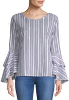 Solitare Striped Flare-Sleeve Cotton Blouse