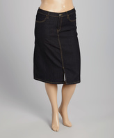 Black Wash Denim Skirt - Plus