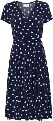 Wallis PETITE Navy Polka Dot Wrap Midi Dress
