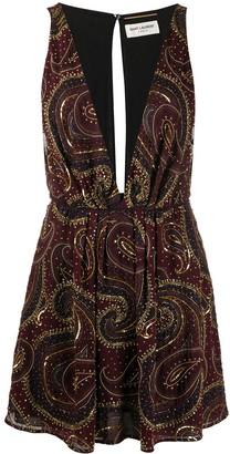 Saint Laurent Paisley Bead-Embellished Mini Dress
