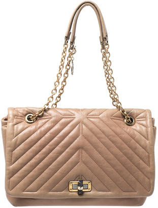 Lanvin Beige Quilted Leather Medium Happy Shoulder Bag