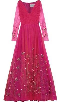 Carolina Herrera Twist-front Embellished Tulle Gown