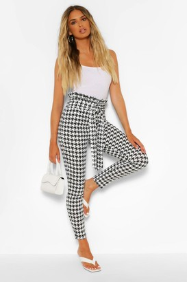 boohoo Large Dogtooth Paperbag Waist Slim Fit Pants
