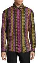 Versace Long-Sleeve Cotton Casual Button-Down Shirt