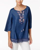 Style&Co. Style & Co Petite Embroidered Chambray Peasant Top, Only at Macy's
