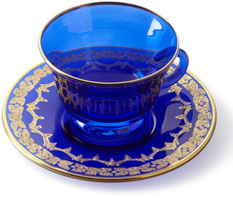 Neiman Marcus Blue Oro Bello Teacups & Saucers, Set of 4